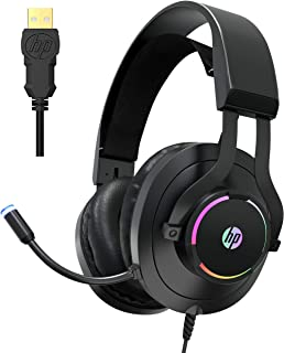 HP Auriculares USB para videojuegos con micrófono - 7.1 Virtual Surround Sound Game Auriculares con micrófono con cancelación de ruido - Almohadillas de espuma viscoelástica de cuero sintético transpirable con retroiluminación LED RGB para ordenador/laptops/PC