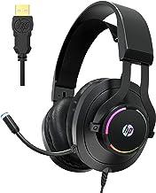 Fone de ouvido para jogos HP USB PC com microfone - Fones de ouvido 7.1 com som surround virtual com microfone com cancela...