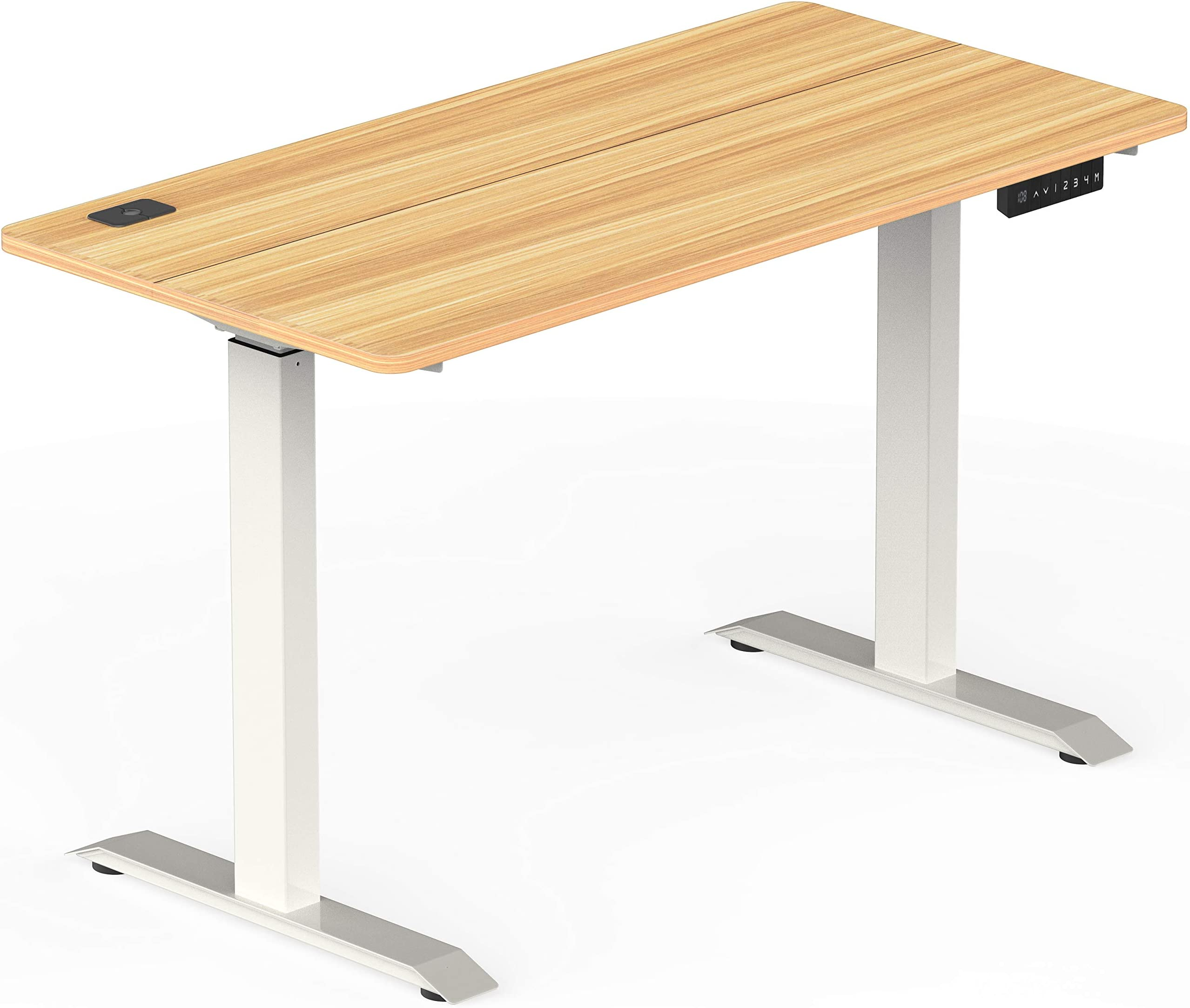 SHW Standing Desk Electric Height Adjustable Computer Desk, 48 x 24 Inches, Light Cherry