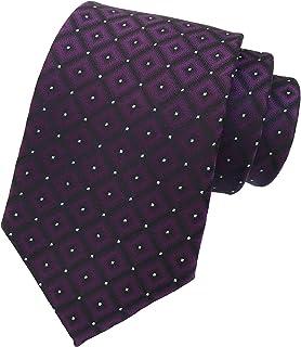 Men's Micro Checkered Polka Dot Striped Ties Jacquard Woven Formal Dress Necktie
