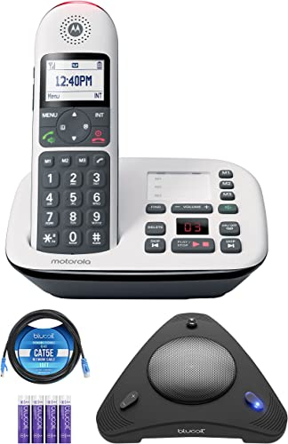 new arrival Motorola CD5011 DECT 2021 6.0 Cordless Phone with Answering Machine, Call lowest Block and Volume Boost, White, 1 Handset Bundle with Blucoil 4 AAA Batteries, 10' Cat5 Cable, and USB Conference Speakerphone outlet sale