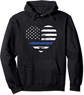 Police Officer Support Thin Blue Line Hoodie Flag Heart