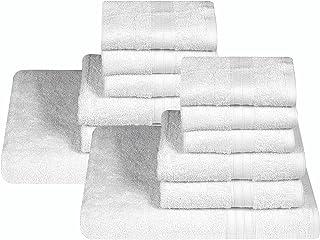 Sassoon 12 Piece Bath Towel Set, Cotton, Quick Dry, Lightweight, Everyday Use, Maximum Softness, Highly Absorbent, Extra V...