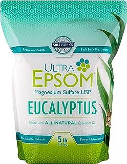 SaltWorks Ultra Epsom Scented Bath Salt, Eucalyptus, 5 Pound Bag