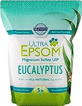SaltWorks Ultra Epsom Premium Scented Epsom Salt, Eucalyptus, 5 Lb