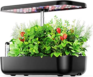 Hydroponic Growing System, Indoor Hydroponic Herb Garden Kit with Pump System, 12 Pods Home Germination Kit with LED Grow Light, Auto Timer & Height Adjustable