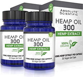 Hemp Oil Capsules 2-Pack for Pain Relief, Reduce Stress, Anti-Anxiety, Natural Anti Inflammatory, Rich in MCT Fatty Acids,...