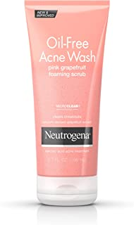 Neutrogena Oil Free Pink Grapefruit Acne Face Wash with Vitamin C,  Salicylic Acid Acne Treatment Medicine, Gentle Foaming Vitamin C Facial Scrub to Treat and Prevent Breakouts, 6.7 fl. oz (3 Pack)