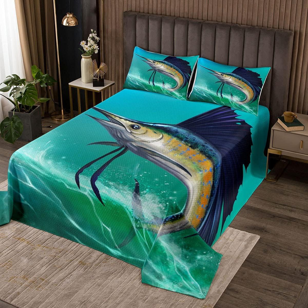 Marlin Swordfish Popular popular Bedspread Nautical Quilted Deep Fish Max 82% OFF Sea Coverl