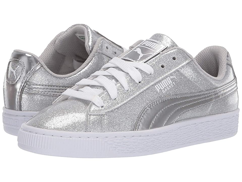 Puma Kids Basket Metallic Slip-On (Big Kid) (Puma Silver/Gray Violet/Puma White) Kids Shoes