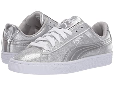 Puma Kids Basket Metallic Slip-On (Big Kid) (Puma Silver/Gray Violet/Puma White) Kids Shoes