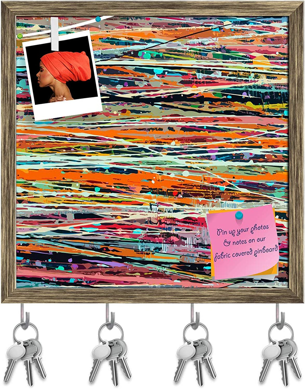 Artzfolio Abstract Stripe Paint D5 Key Holder Hooks   Notice Pin Board   Antique golden Frame 20 X 20Inch