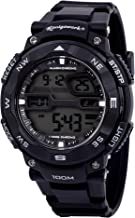 Konigswerk Mens 100M Waterproof Alarm LCD Dual Time Chronograph Black Band Military Sport Watch