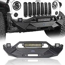 Hooke Road Jeep Wrangler Blade Front Bumper w/Winch Plate & 72W Light Bar & 18W Fog Lights for 2007-2018 Wrangler JK & JKU