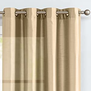 Vangao Taupe Curtains 95 Inches Long Faux Silk Opaque Curtain Light Filtering Living Room Satin Drapes Privacy Window Treatments Set for Bedroom, Grommet Top, 2 Panels