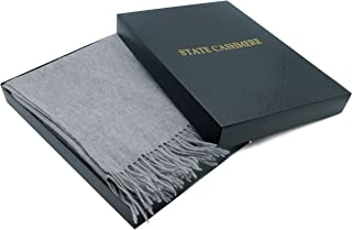 State Cashmere 100% Pure Cashmere Throw Blanket with Fringes Ultimately Soft and Warm (Heather Grey, One Size)