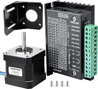 Longruner Nema 17 Motor Paso a Paso, Conductor de Motor Paso a Paso,para Impresora 3D / CNC,Bipolar 1.7A / 24V 42X40mm Cuerpo 4-Lead &32 Segmentos 4A 40V 57/86 Motor Paso a Paso Driver LD09