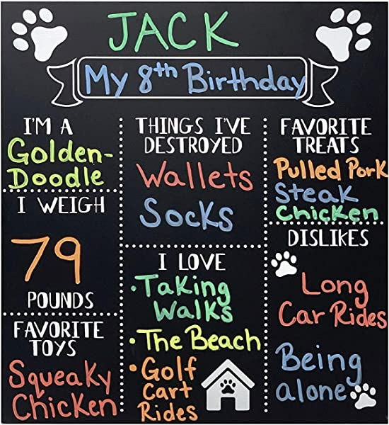 JennyGems Dog Milestone Chalkboard Sign Monthly Puppy Photo Props Use Actual Dry Chalk For Dogs And Puppies Fur Babies Dog Birthday Supplies Decorations Puppy Party