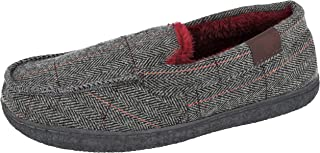 Cushion Walk Mens Brown Tweed Faux Fur Lined Slip On Mules Slippers Size 7-12