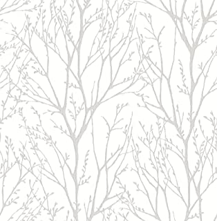 NuWallpaper NU2394 Treetops Peel & Stick Wallpaper, White & Off-White
