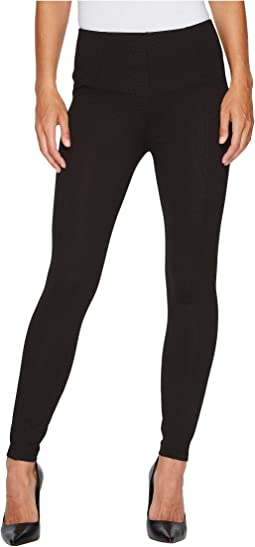 Liverpool - Reese Ankle Leggings with Slimming Waist Panel in Mini Check Ponte Knit in Brown