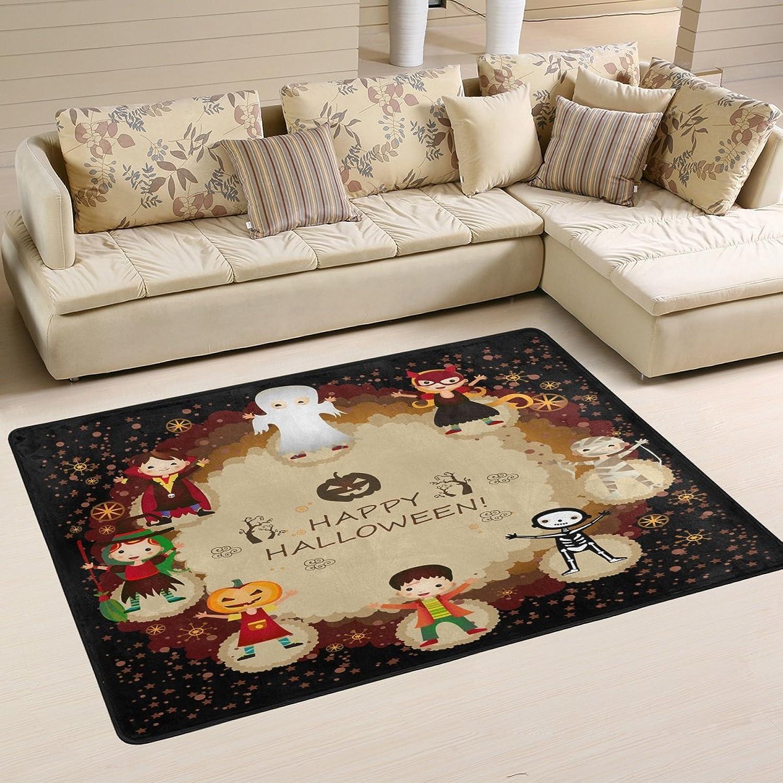 Happy Halloween Decorative Witch Pumpkin Skeleton Stylish Area Rug Pad Non-Slip Kitchen Floor Mat for Living Room Bedroom 4' x 6' Doormats Home Decor