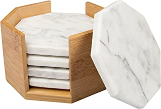 White Carrara Marble Coasters with Bamboo Holder, Set of 5