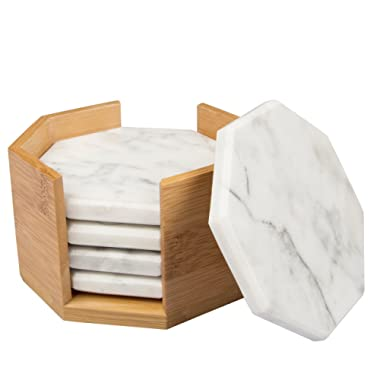 White Carrara Marble Coasters with Bamboo Holder, Set of 5 - Great Mother's Day Gift