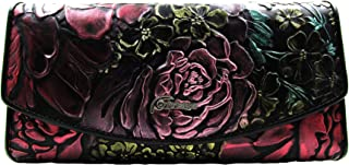 Peony Embossed Genuine Leather Trifold Women Wallet (Black)