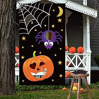 Halloween Bean Bag Toss Games - Pumpkin Spider Web,3 Bean Bags - for Kids Party