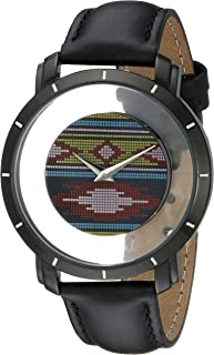 Akribos XXIV Men's AK665XBK Swiss Quartz Movement Watch Featuring a Multi Colored Navajo Pattern Floating Dial and Hidden Crown with Black Calfskin Leather Strap