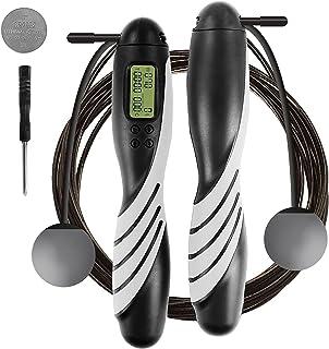 iMoebel hopprep digital räknare justerbar – Speed Rope rephopp med stålrep halkskydd tunga ergonomiska handtag, kaloriräkn...