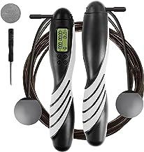 iMoebel Springtouw digitale teller verstelbaar - Speed Rope touwspringen met stalen touw anti-slip zware ergonomische hand...