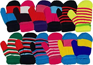 Winter Mittens for Toddlers, 12 Pairs Gloves, Warm, Cute, Fun, Colorful, Stretchy Wholesale for Boys or Girls, Children