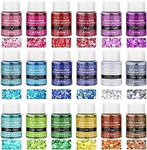 Chunky Glitter for Resin, Thrilez 18 Colors Holographic Chunky Glitter Sequins Craft Glitter Powder Tumbler Glitter for Re...