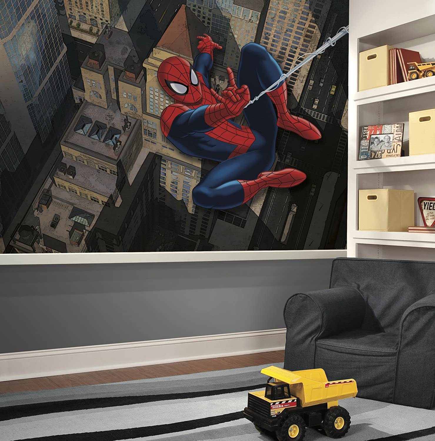RoomMates Spiderman - Ultimate Spiderman Cityscape Prepasted, Removable Wall Mural - 6' X 10.5'