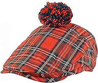 Major Wear Mens Official Red Scottish Tartan Flat Cap with Pom Pom