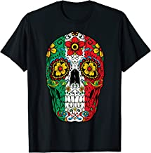 Day Of The Dead Sugar Skull Cinco de Mayo Women Mexican Flag T-Shirt