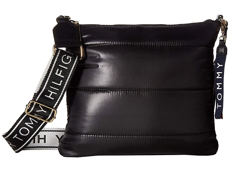 Tommy Hilfiger Ames Puffy Large North/South Solid Nylon Crossbody (Black) Cross Body Handbags
