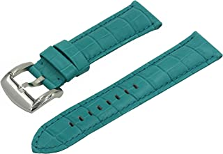 SWISS REIMAGINED Watch Band Croco Grain Leather Polished Stainless Steel Buckle