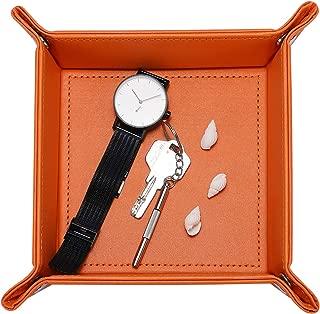 Pasutewel PU Leather Beside Storage Valet Tray Watch Coin Change Jewelry Organizer (Orange)