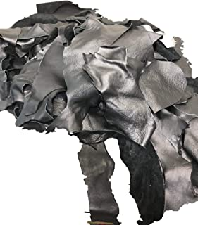 The Tannery NYC Black Full Grain Leather Scraps and Trimmings: 1.5-2lbs of Scrap Include Fashion Colors, Metallics, Prints, Embossed Leathers (USPS Padded Pouch)