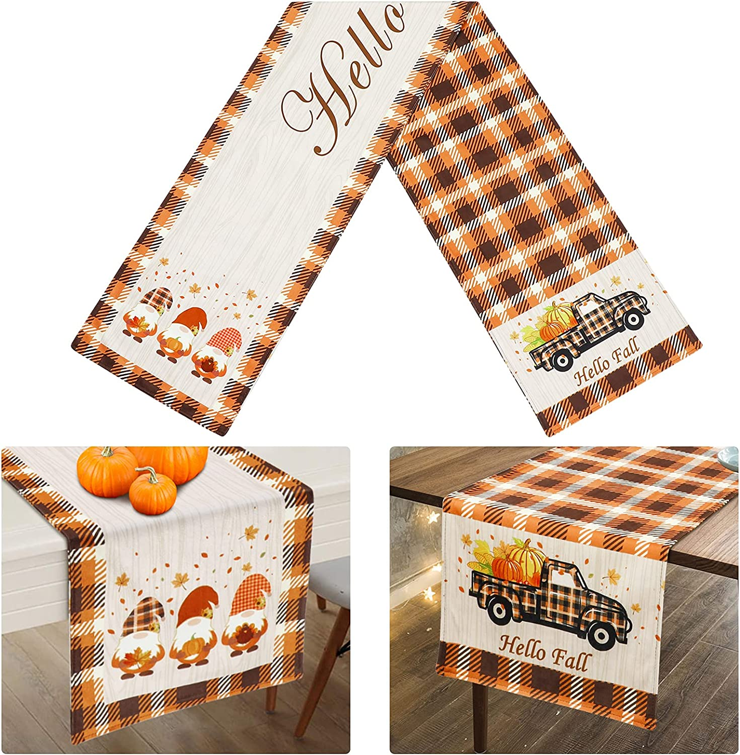AerWo Fall Table Runner, Double Sided Buffalo Check Table Runner Printed with Pumpkins, Fall Leaves, Gnomes, Hello Fall, for Outdoor Indoor Dinner Thanksgiving Party Fall Table Decor (72 x 13 Inch)