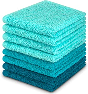 DecorRack 8 Pack Kitchen Dish Towels, 100% Cotton, 12 x 12 Inch Dish Cloths, Perfect Cleaning Cloth for Washing Dishes, Kitchen, Bar, Counter and Car, Turquoise (Pack of 8)