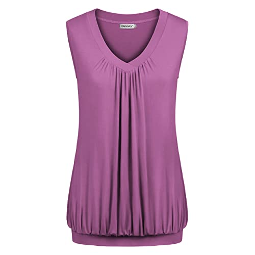 10472f9909f37 Ouncuty Summer Women Sleeveless Tunics Flowy Tanks Top Banded Bottom Blouse