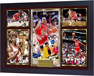 S&E DESING Michael Jordan Chicago Bulls Signed NBA Photo Print NBA Autographed Framed