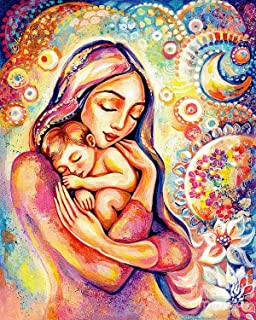KoKoWill 5D DIY Diamond Painting Kit for Adults Kids, Full Drill Round Crystal Rhinestone Embroidery Cross Stitch Home Wall Decor Art Craft Canvas,Mother and Baby,11.81 x 15.75 inch
