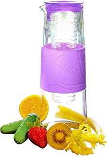 Water Infuser Pitcher - 1 qt Glass Pitcher with Lid and Spout for Fruit Infused Water. Use as Tea Infuser or BPA-Free Water Diffuser. Includes Fruit Infused Water Recipe Book (emailed)!