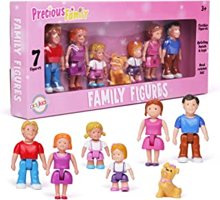 Playkidz Family Figures - Small Play People 7 Figurines Set , Parents, Sibling, and Pet -Early Development Play Figure Toy...