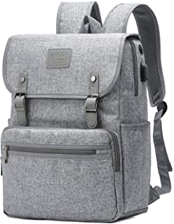 HFSX Backpack Bookbags Laptop Backpack for Women Men Vintage Backpack College Backpack Travel Bookbag Laptop Bookbags with USB Charging Port Gray Backpacks Fits 15.6 inch Notebook
